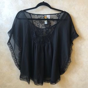 Mimi Chica L Black Sheer Caftan Blouse w/ Lace